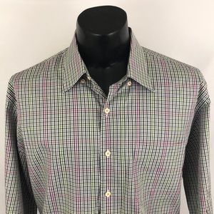 Peter Millar Button Up Shirt Plaid White Black XL